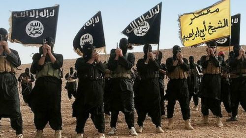 Fighters belonging to the Islamic State group in Anbar, Iraq.