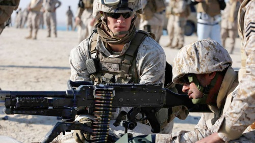 U.S. and Saudi troops in joint training.