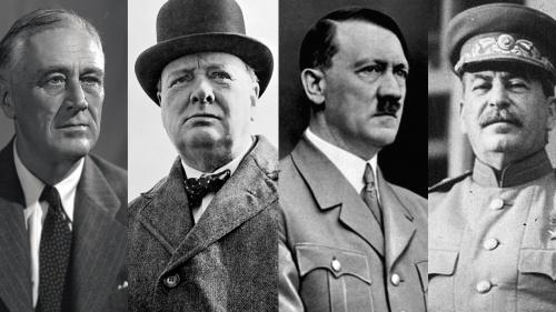 Photos of Theodore Roosevelt, Winston Churchill, Adolf Hitler and Joseph Stalin