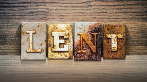 "A block letter sign that spells out the word ""Lent""."